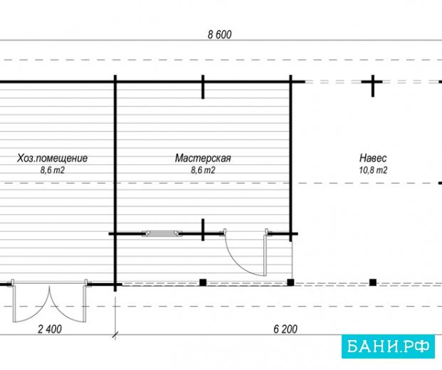 Хозблок с верандой своими руками чертежи список стройматериала